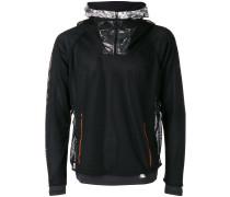 layered fishnet sports hoodie