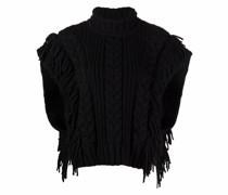 Cape-Pullover mit Zopfmuster