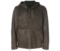 reversible hooded leather jacket