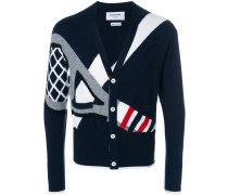 Classic V-neck Cardigan With Tennis Racket Intarsia In Cashmere