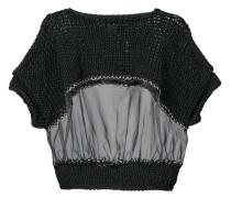 sheer insert half sleeve sweater