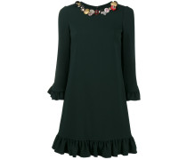 embellished dress with ruffled hem