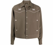 logo-embroidered button-through shirt jacket