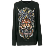 Oversized-Pullover mit Tiger-Print