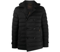 double-breasted hooded down jacket