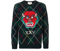 appliqué argyle knitted jumper