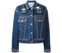floral stud denim jacket