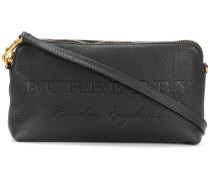 embossed logo clutch bag