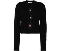 Cropped-Pullover mit Blumenstickerei