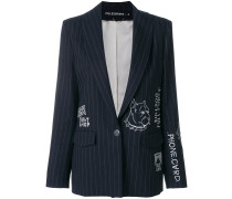 embroidered pinstriped blazer