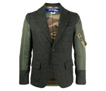 panelled single-breasted blazer