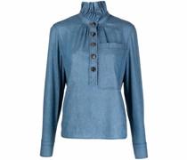 ruffle-neck blouse