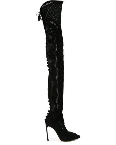 sergio rossi damen overknee stiefel mit stickerei reduziert. Black Bedroom Furniture Sets. Home Design Ideas