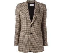 houndstooth buttoned blazer