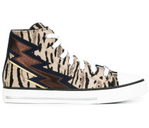 High-Top-Sneakers mit Animal-Print