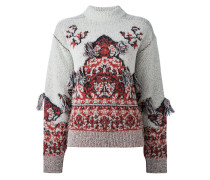 Intarsien-Pullover mit Fransen