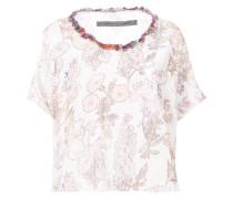 floral printed T-shirt with appliqué neckline