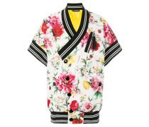 striped detail floral jacket