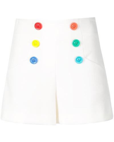 rainbow button high-waisted shorts