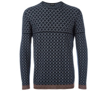 Jacquard-Pullover mit Kontrastsaum