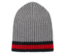 - Beanie mit Webstreifen-Design - men - Wolle
