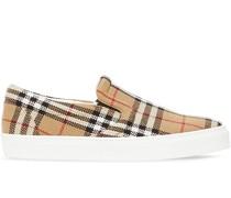 check latticed slip-on sneakers