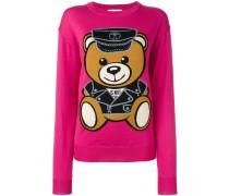 Schurwollpullover mit Teddybären-Motiv
