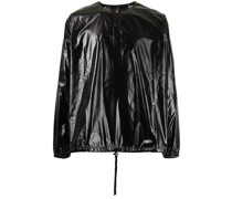 crinkled faux-leather T-shirt