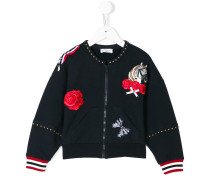 zipped sweatshirt with patches