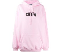 'Crew' Oversized-Kapuzenpullover mit Print