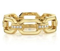 18kt yellow  diamond square link ring