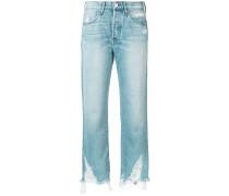 Cropped-Jeans mit ausgefranstem Saum - women