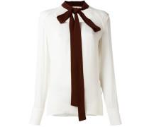Bluse mit kontrastfarbigem Schleifenkragen