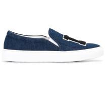 "Jeans-Slip-On-Sneakers mit ""LA""-Stickerei"