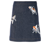 fish embroidered patch mini skirt