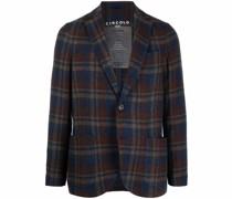 plaid-pattern knit blazer