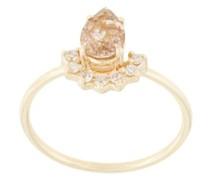 14kt Gelbgoldring mit Diamanten und Rutinquarz