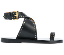 studded crossover sandals