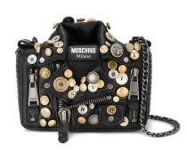 Biker Jacket Shoulder Bag with Button Embellishment