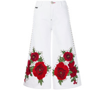embroidered and studded cropped flare jeans