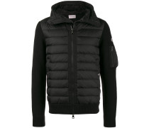 Black Down Filled Jacket with Knitted Sleeves