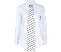 CLASSIC POINT COLLAR BUTTON DOWN W/BOW TIE COLLAR STAND W/COMBO IN VARIEGATED REP STRIPE OXFORD