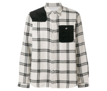 checked colour-block shirt