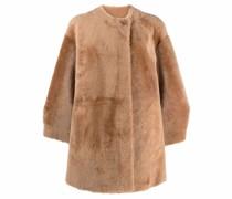 collarless shearling coat