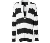 Gestreifter Pullover mit Schlitzen
