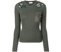 Gerippter Pullover mit Blumen-Patches