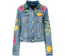 floral patch denim jacket