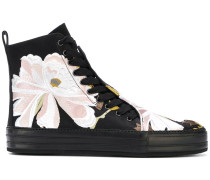 floral embroidered hi-top sneakers