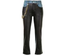 Cropped-Jeans mit Einsatz