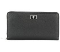 crown logo plaque long wallet